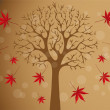 Stock Vector: Autumn tree with falling leafs
