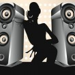 Stock Vector: Dancing female DJ