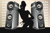 Dancing female DJ — Stock Vector