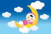 Dreaming baby on the moon — Stock Vector