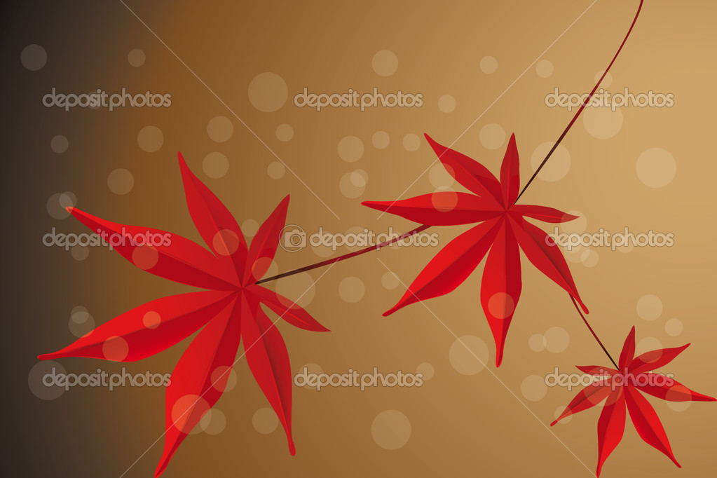 Falling leafs of red maple in autumn - Illustration  Stock Vector #9175184