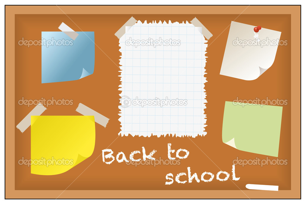 Back to school - post-its and notes on chalkboard — Stock Vector #9175187