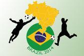 Brazil 2014 - Football illustration — Stock Vector