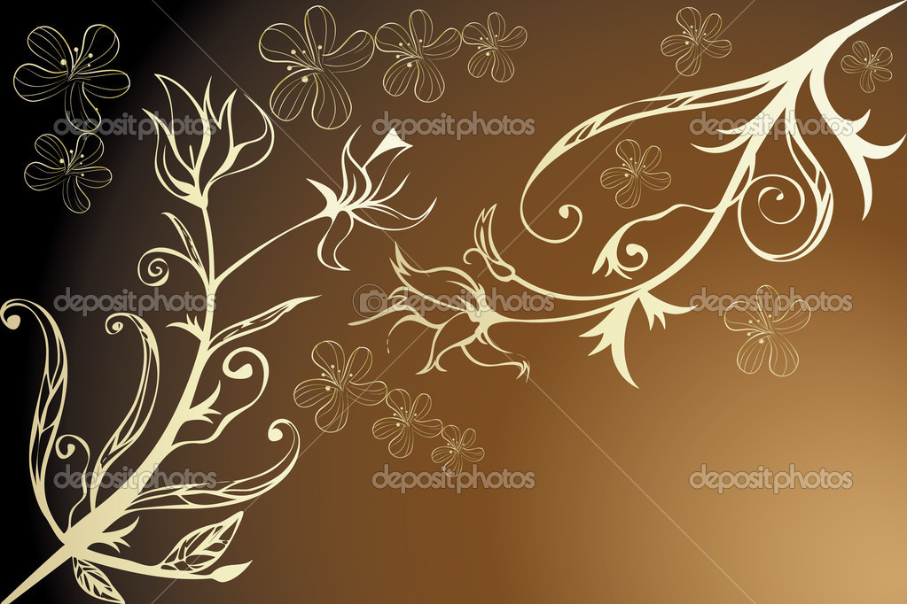 Golden floral design - Illustration with room for text — Stock Vector #9241105