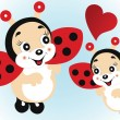 Stock Vector: Cute ladybirds in love