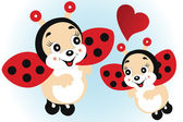 Cute ladybirds in love — Stock Vector