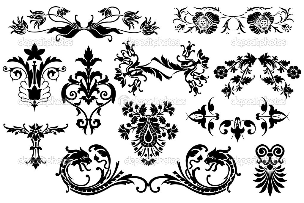 Floral calligraphic vintage design elements isolated on white background - useful elements to embellish your layout  Stockvectorbeeld #9625130