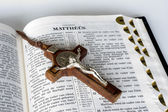 Bible with Cross — Stock Photo