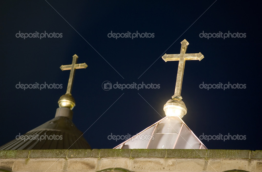Two crosses on the roof of a church in the evening light in the Netherlands — Stock Photo #9191781