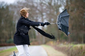 Fighting against the wind — Stock Photo