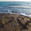 Hearts on beach — Foto Stock