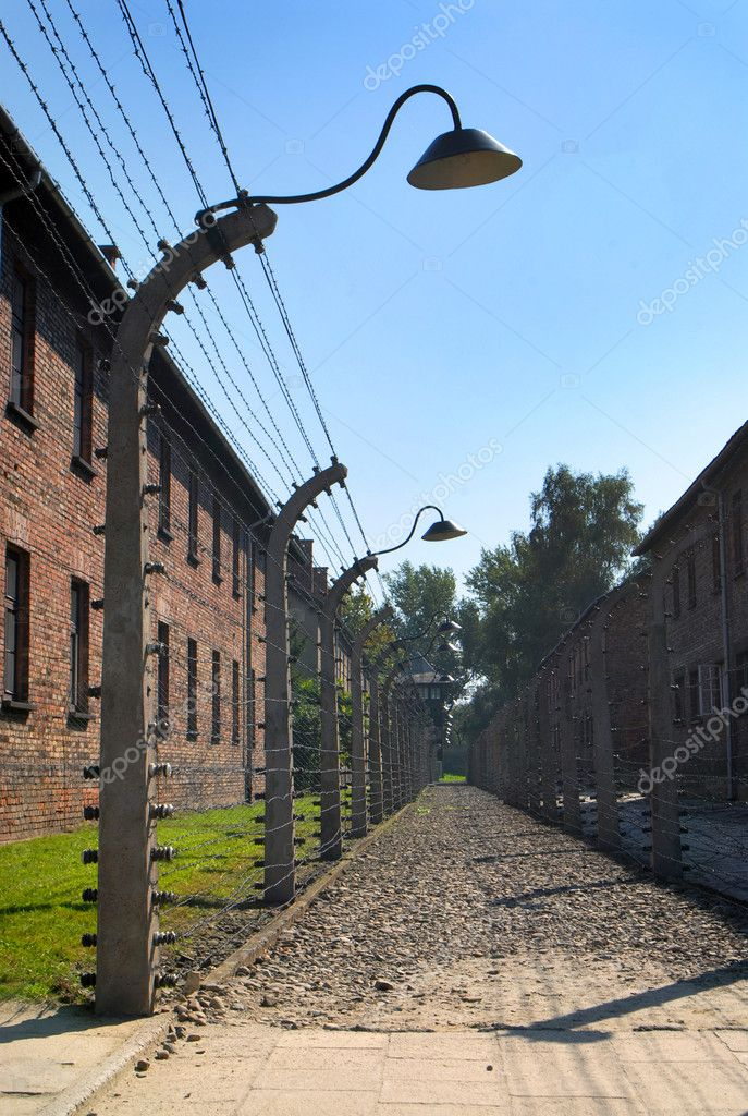 Double fence with wire in Auschwitz Birkenau — Stock Photo #9243871
