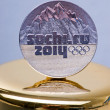Commemorative coins of XXII Olympic Winter Games in Sochi, Russia on February 2014. — Stock Photo