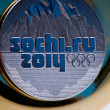 Commemorative coins of XXII Olympic Winter Games in Sochi 2014, Russia — Stock Photo #9853004