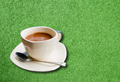 Cup of coffee on the lawn. — Stock Photo