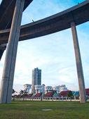Towers and bridge — Stock Photo