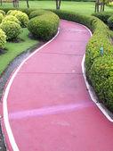Red racecourse between bush in public park — Stock Photo