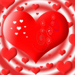 The big red heart against set of other hearts — Stock Photo #9203484
