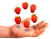 Six berries over a palm on a white background — Stock Photo