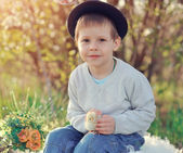 The boy with a chicken — Stock Photo
