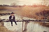 The boy on the bridge — Stock Photo