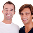 Two casual men, smiling, isolated on white, studio shot — Stock Photo #9833756