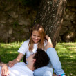 Young Couple in the park having fun, dating — Stock Photo