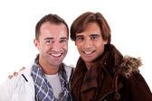 Dva příležitostné šťastný muži, izolované na bílém, studio zastřelil — Stock fotografie