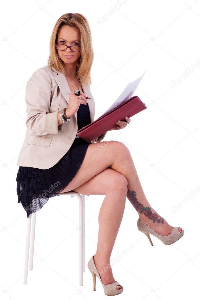 Stock Photo Beautiful Mature Woman Secretary Seated