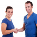 Man handshake a woman, isolated on white, studio shot — Stock Photo