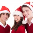 Royalty-Free Stock Photo: Happy christmas teens, isolated on white background, studio shot.