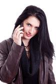όμορφη γυναίκα στο τηλέφωνο, απομονώνονται σε λευκό φόντο — 图库照片