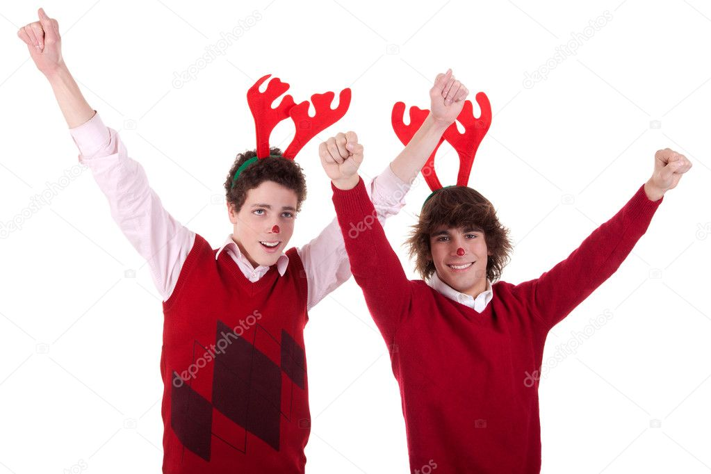 Happy young men wearing reindeer horns, with arms raised, on white, studio shot — Stock Photo #9897188