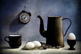 "Still life ""black plates"" — Stockfoto"