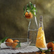 Still Life with slices of mandarin - Stock Photo