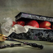 Still life with a box and apples - Stock Photo