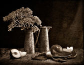 Natura morta con piatti d'argento — Foto Stock