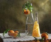 Still Life with slices of mandarin — Stock Photo