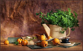 Still life with a teapot, parsley and apples — Stockfoto