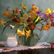 Stock Photo: Still life with flowers and milk