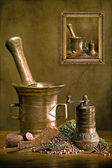 Still life with herbs, mortar and mill — Stock Photo