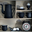 Shelf with dishes of dark — Stock Photo