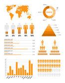 Elementi di infografica arancione — Vettoriale Stock