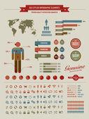 Infographie des éléments de style vintage de haute qualité — Vecteur