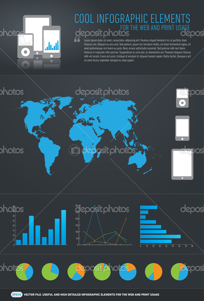 Cool infographic elements for the web and print usage — Stock Vector #9155955