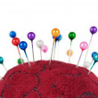 Pincushion with pins closeup — Stock Photo