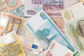 Assorted world banknotes — Stock Photo