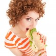 Fun woman with sandwich on the white background — Stock Photo #10240017