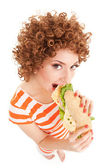 Fun woman with sandwich on the white background — Стоковое фото