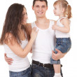 Happy mother, father and daughter on the white background — Stock Photo